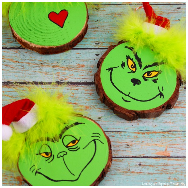 Grinch Wood Slice Craft