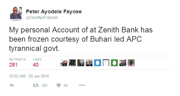 Fayose starts trending on Twitter after accusing Buhari of blocking his account