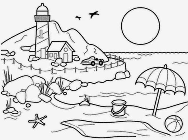 Sketsa Mewarnai Pemandangan Gambar Mewarnai Untuk Anak Anak