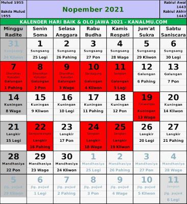 Kalender hari baik november 2021