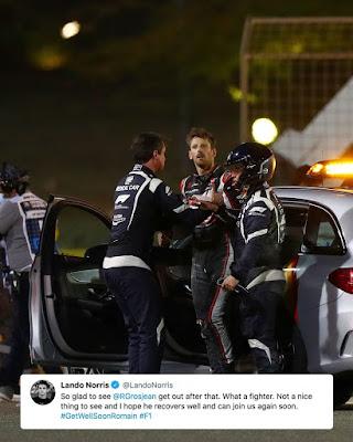 Lando Norris about Romain Grosjean crash