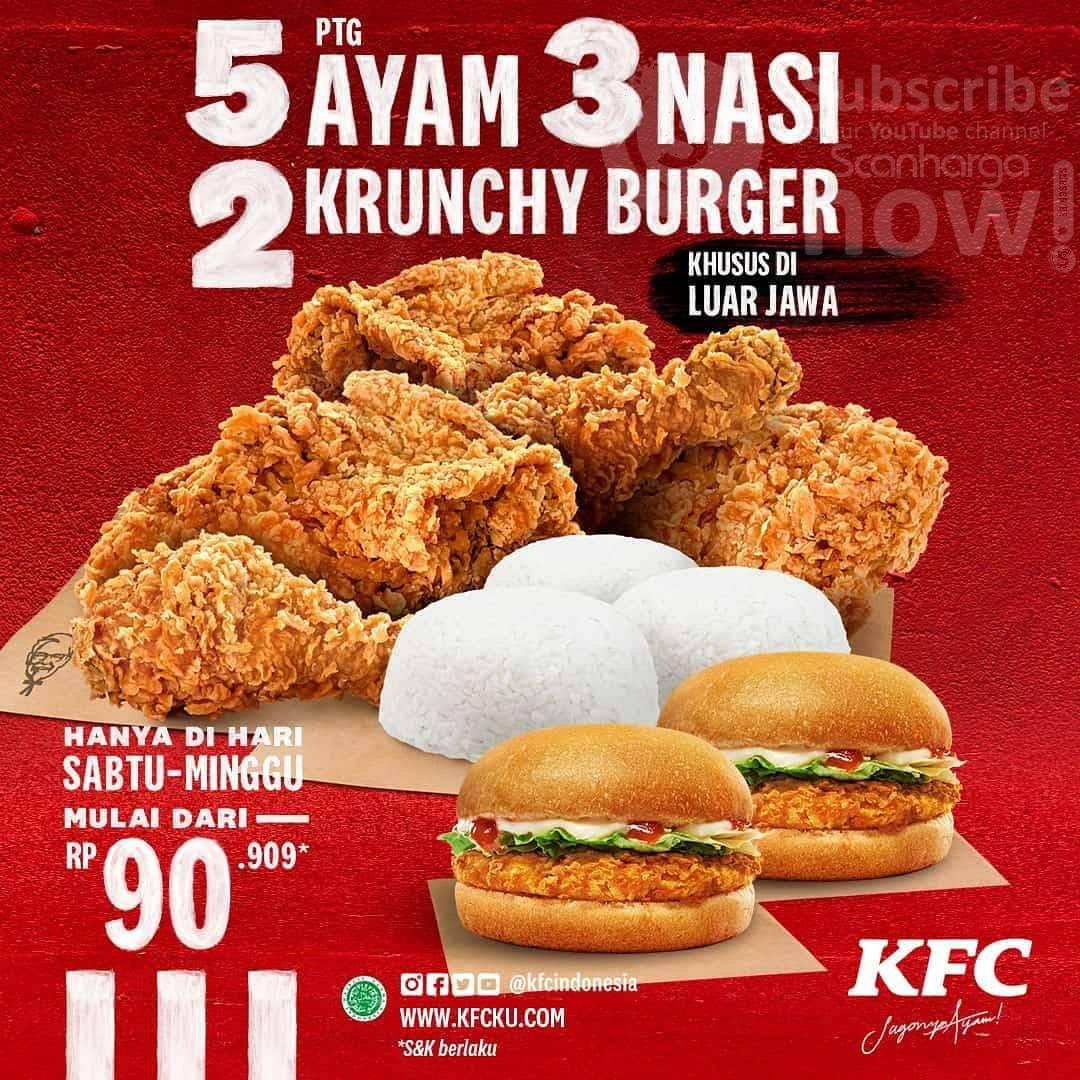 KFC Promo 5 Ayam + 3 Nasi + 2 Krunchy Burger harga mulai Rp. 90.909