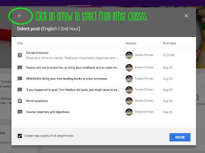 Reuse a post in Google Classroom™   www.traceeorman.com