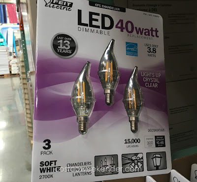 Replace those old energy-inefficient bulbs with the Feit Electric 400 watt LED Chandelier Bulbs