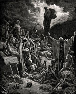"""Incisione di """"La visione della valle delle ossa secche"""" di Gustave Doré."""