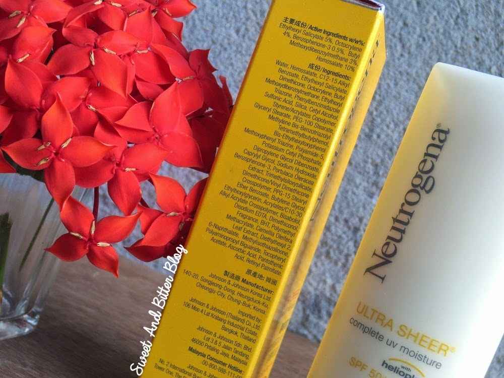 Neutrogena Ultra Sheer Complete UV Moisture with HELIOPLEX SPF 50 Ingredients