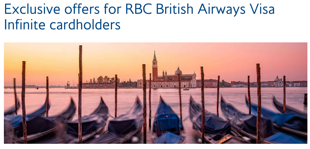 RBC British Airways Visa Infinite Card limited time bonus of extra Avios on purchases and lowered spend requirement for the companion voucher