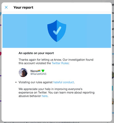 """Hateful conduct"" violation by @NanaMGNS on Twitter. A rare ""victory"" against the radical feminists!"