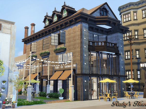 Sims 4 Waterside Street  餐廳,花店與服裝店 (Lot type:  Restaurant)