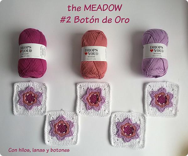 Con hilos, lanas y botones: manta ganchillo drops the Meadow botón de oro