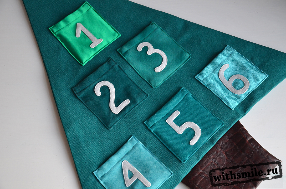 Адвент календарь текстильная елочка с 6 кармашками. 7 января