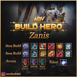 Item Build, Arcana dan Talent untuk Zanis Aov