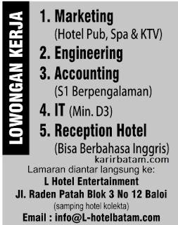 Lowongan Kerja L Hotel Entertainment
