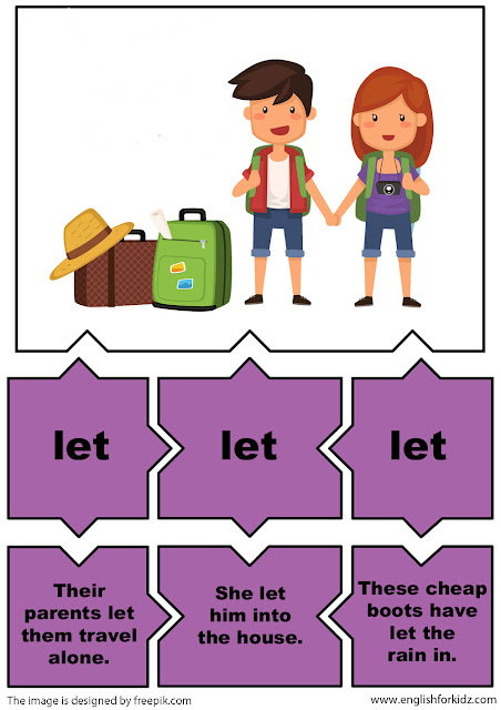 english irregular verbs puzzles, verb let