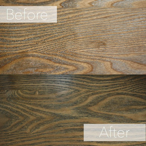 Before and after stain