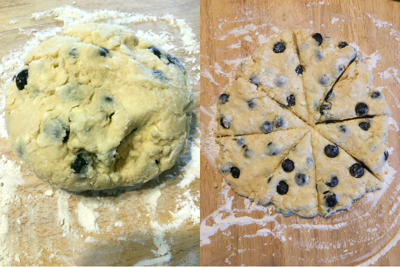 Blueberry scones dough