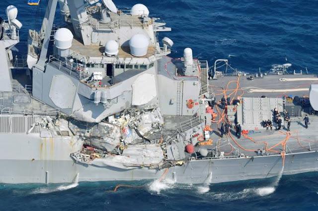 USS Fitzgerald colidiu com cargueiro filipino na costa do Japão
