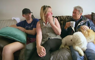 Alan enjoys a cup of tea with the family