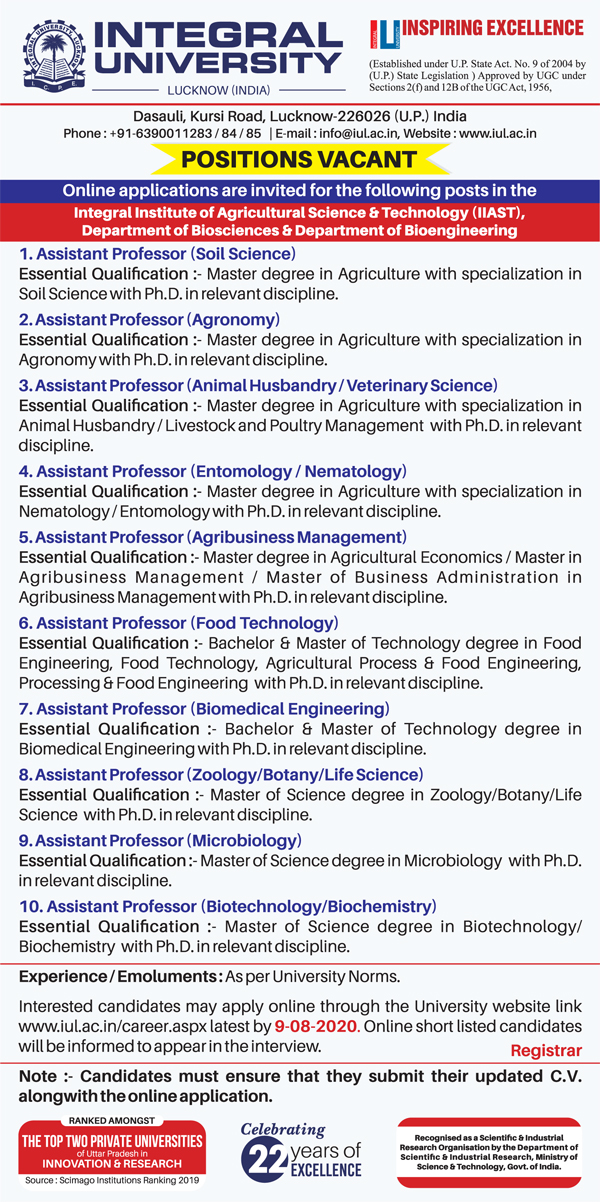Integral University Agricultural Sciences Faculty Jobs 2020