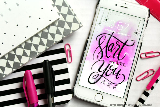 black & hot pink, start where you are, hand lettering, free digital background