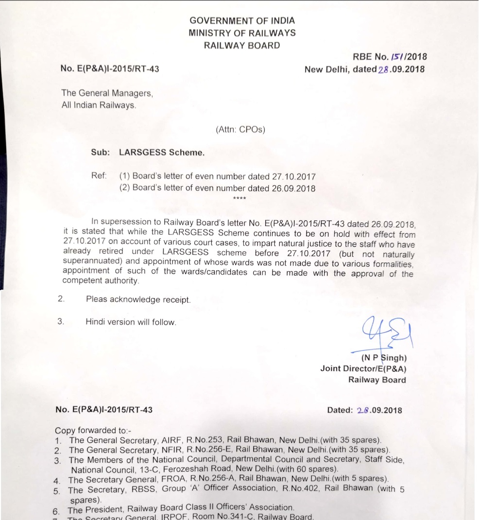 railway board letter regarding to reopning of larges scheme