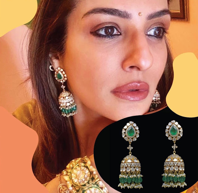 Raveena Tandon Diamond Emerald Jhumkas