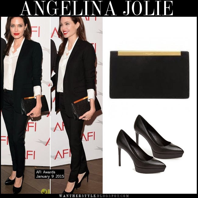 cd642b84de41 WHAT SHE WORE  Angelina Jolie with black clutch and black platform ...