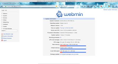 Setelah login berhasil akan tampil informasi server seperti ini