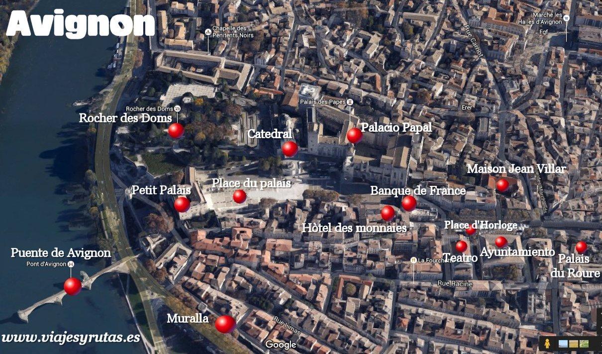 Mapa con los principales monumentos de Avignon