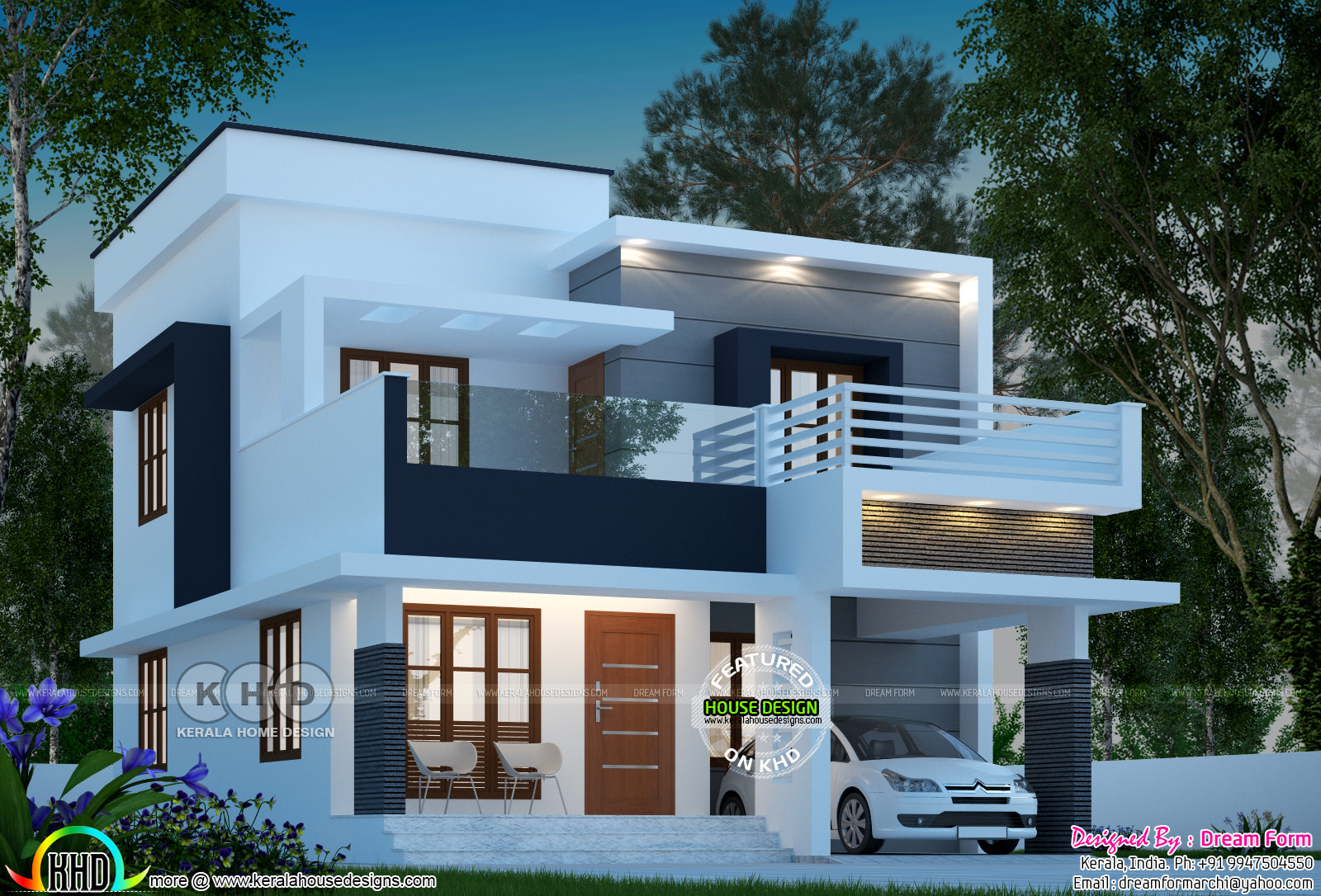 1585 square feet 3 bedroom modern flat roof home