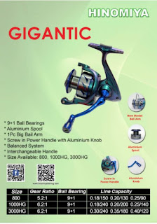 Spesifikasi dan Harga Reel HINOMIYA GIGANTIC 3000HG