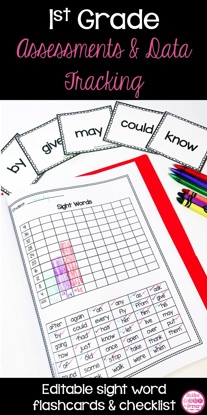 Use these 1st grade assessment and data tracking folders to keep track of how your students are doing in reading and math. These are great for monthly check-ins or report card time! These editable flashcards and checklist can be used to see what sight words your 1st graders know.