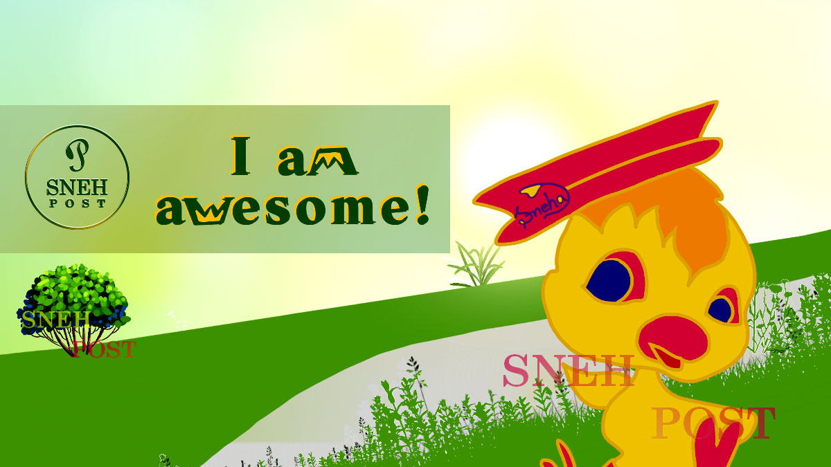 Reasons you need to be unique: Cartoon illustration of a beautiful cute tweety in cap saying I am awesome