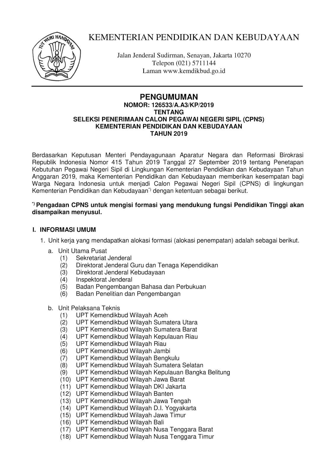 Lowongan CPNS Kementerian Pendidikan dan Kebudayaan Tahun  Anggaran 2019