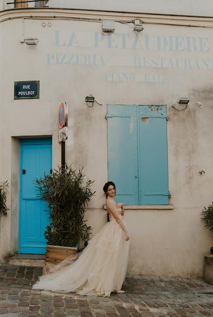 Elopement à Paris, Robe de mariée en tulle et organza blush peinte à la main,D'Ors et de Soie