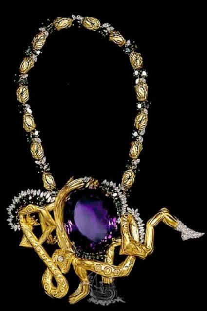 Colar com membros trançados (colar coreográfico), 1964, ouro, diamantes, ametista, safira.