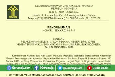 Formasi CPNS Kemenkumham 2019