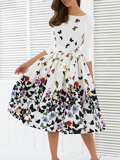 Round Neck Floral Printed Belt Skater Dress
