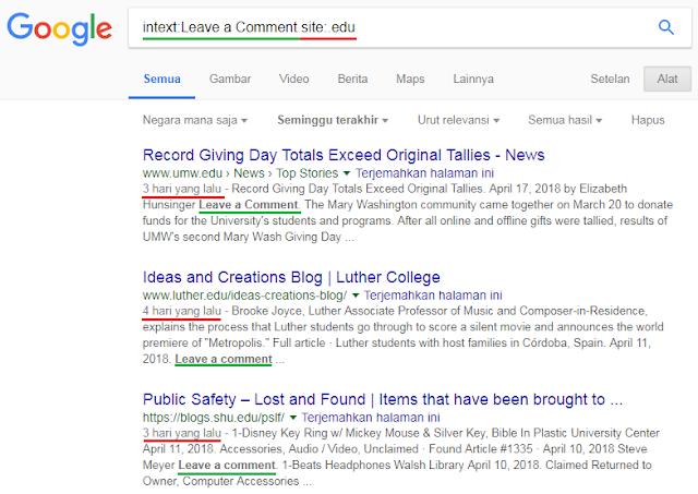 Pencarian Backlinks Dari Situs EDU