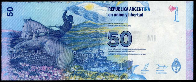 Argentina money currency 50 Pesos banknote 2015 Gaucho Antonio Rivero with argentine flag