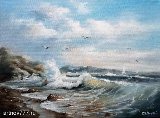 Море, чайки, берег, ккартина