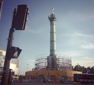 La place de la Bastille en travaux