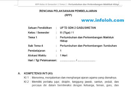 RPP Kelas 3 SD / MI Tema 1 Subtema 4 Kurikulum 2013 Revisi 2018 / 2019