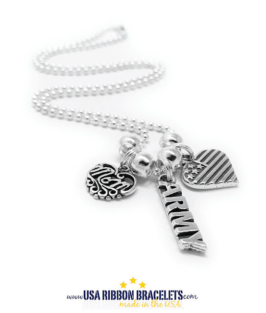 Army Mommy Heart and Flag Necklace