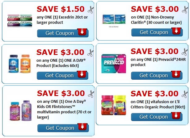 Print Excedrin, One a Day, Prevacid, Claritin Coupons