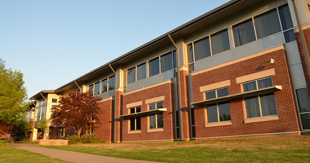 Photo of the exterior of the University Center on a spring day