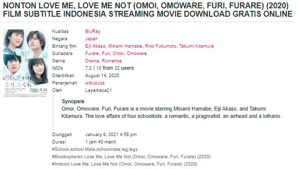 Nonton Film Love Me, Love Me Not (2020) Sub Indo Full Movie Terbaru 2021