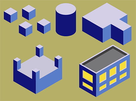 isometric building, membuat isometric coreldraw