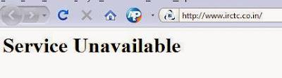 IRCTC page errors