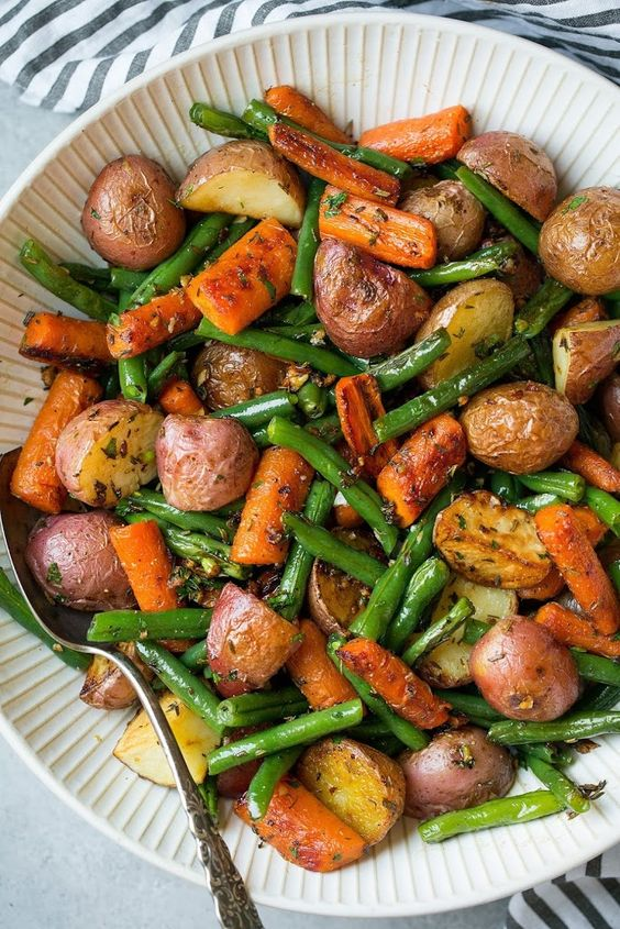 Garlic Herb Roasted Potatoes Carrots and Green Beans Recipe on Yummly. @yummly #recipe